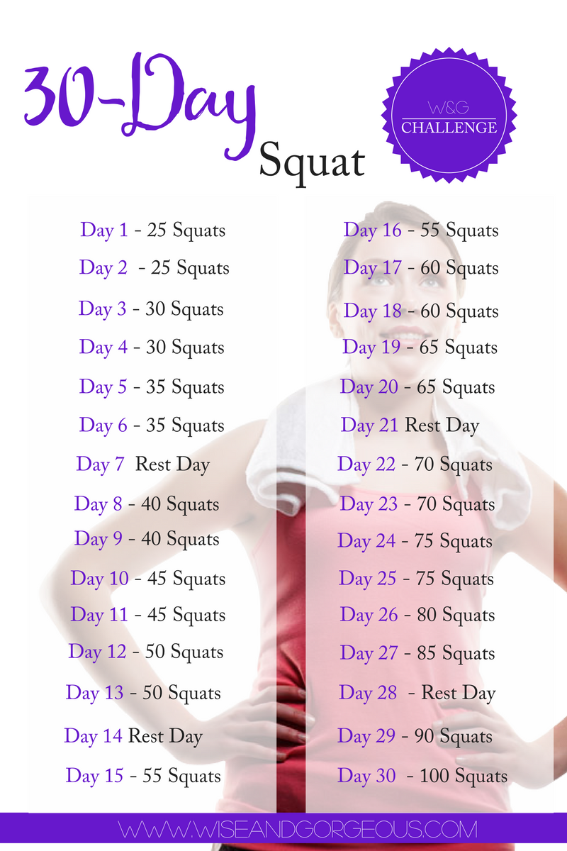 December 30 Day Squat Challenge - Overview Picture - W&G